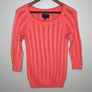 American Eagle coral cotton wool blend cable knit lightweight sweater M